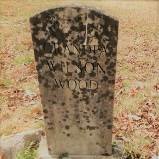 Grave headstone for Wilson Wood, who had been enslaved (family photo courtesy of Lisa Sykes Chilton)