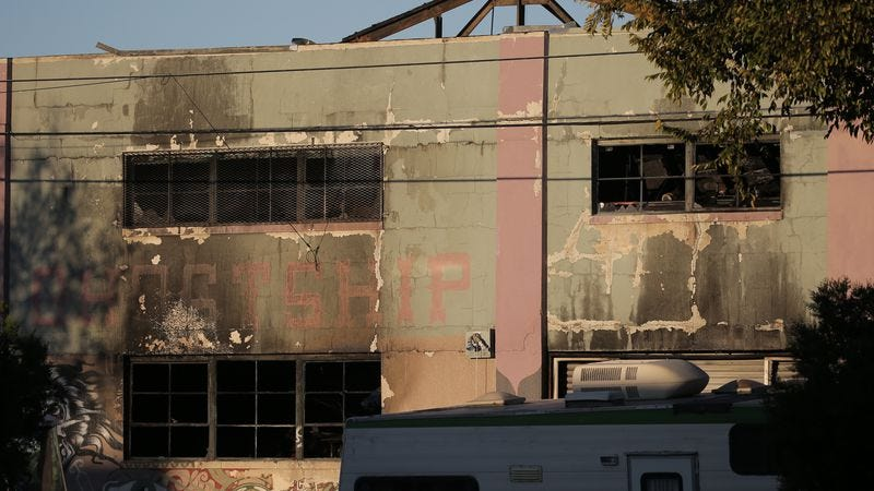 The warehouse where the fire occurred. (Photo: Elijah Nouvelage/Getty Images)