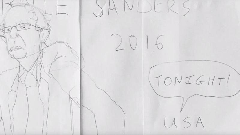 "Illustration for article titled Brad Neely's Bernie Sanders song is an anthem for ""tonight"" (and every night after)"