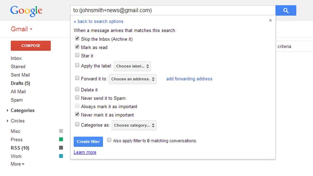 gmail set default address