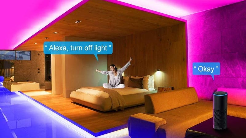 Minger App Control LED Strip Lights With Microphone and Bluetooth - 16.4' AC-Powered | $15 | Amazon | Promo code GBQQAIS7Minger LED Strip Lights  - 16.4' AC-Powered | $12 | Amazon | Promo code GBQQAIS7