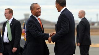 Massachusetts Gov. Deval Patrick greets President Barack Obama at the airport in Boston, Oct. 23, 2009.JEWEL SAMAD/AFP/Getty Images