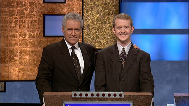 Trebek and Jennings in 2004