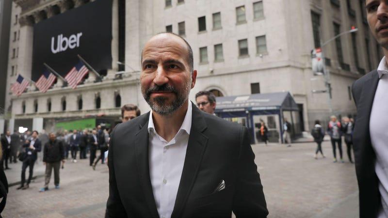 Uber CEO Dara Khosrowshahi walks outside of the New York Stock Exchange on May 10, 2019