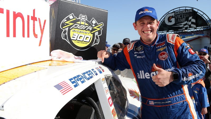 Spencer Gallagher after winning the NASCAR Xfinity Series race at Talladega Superspeedway in April.