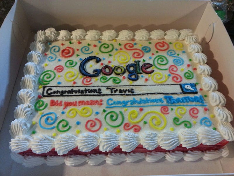 Illustration for article titled Googlers didn't make a 'traitor' cake for a departing co-worker