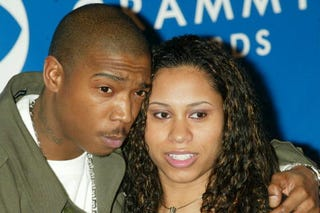 Ja Rule and his wife attend the Grammy Awards at Madison Square Garden on Feb. 23, 2003, in New York City. (Scott Gries/Getty Images)