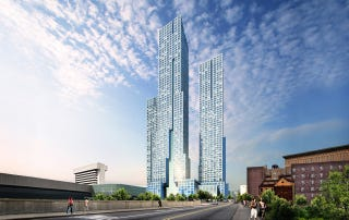 Illustration for article titled This Icy Blue Tower Will Be New Jersey's Tallest Residential Building