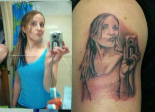 Illustration for article titled Woman Tattoos Herself With Her Own Selfie; Society Mourns Everything [UPDATE]