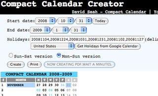 make a custom compact calendar online