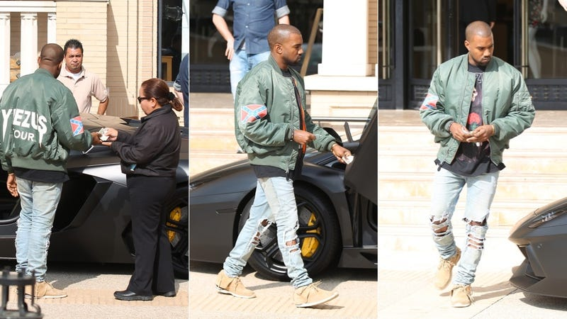 Illustration for article titled Here's Kanye West Leaving Barneys Wearing a Confederate Flag Jacket