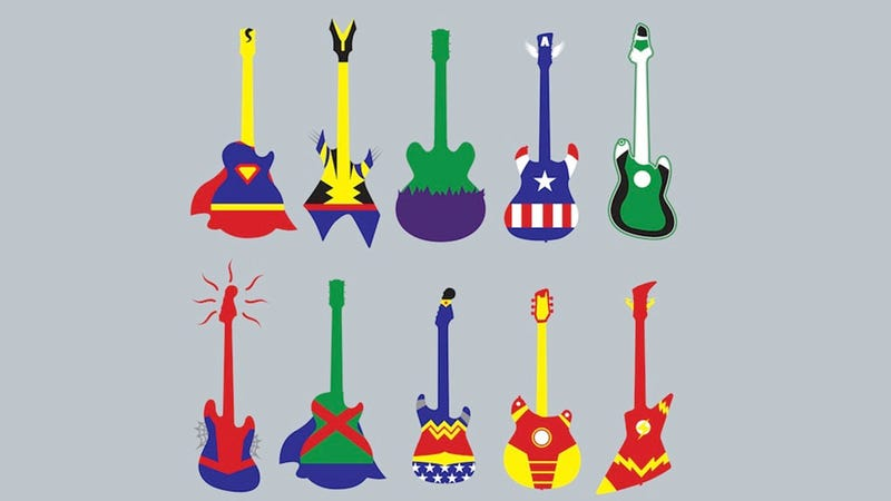 Illustration for article titled Your Favorite Superheroes Re-Imagined As Guitars. You Know, 'Guitar Heroes.'