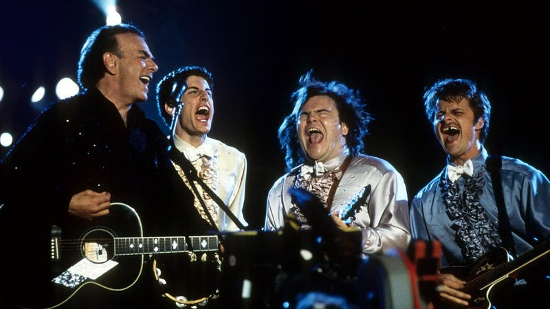 Neil Diamond, Jason Biggs, Jack Black, and Steve Zahn in 2001's Saving Silverman. (Photo by Columbia Pictures/Getty Images)