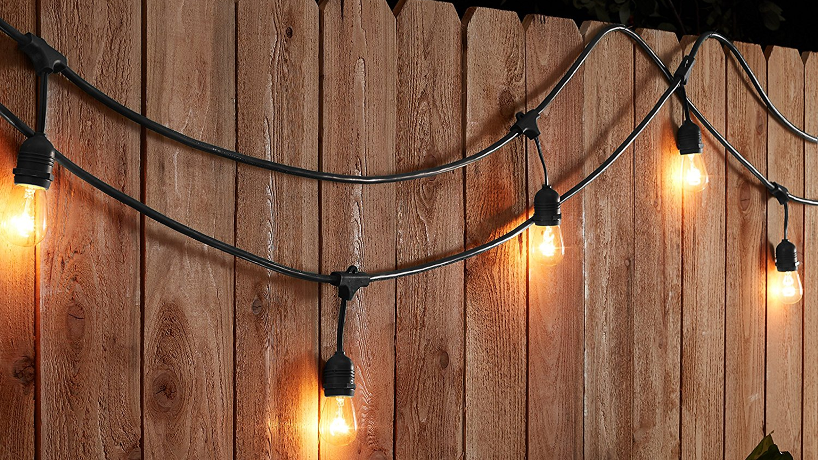 Hang up 49 feet of weatherproof string lights for 42 - How to hang up string lights ...