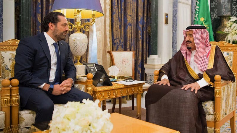 In this photo provided by the Saudi Press Agency, Saudi King Salman, right, meets with outgoing Lebanese Prime Minister Saad Hariri in Riyadh, Saudi Arabia, Monday, Nov. 6, 2017. Hariri's resignation in a televised statement from Saudi Arabia on Saturday stunned Lebanon and plunged the tiny nation into uncertainty. In his resignation, Hariri accused Shiite power Iran of meddling in Arab affairs and the Iran-backed Lebanese militant Hezbollah group of holding Lebanon hostage. (Saudi Press Agency, via AP)