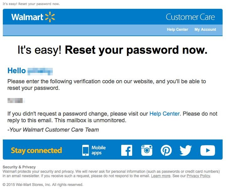 Something Weird Is Going On With Walmart's Password Reset System
