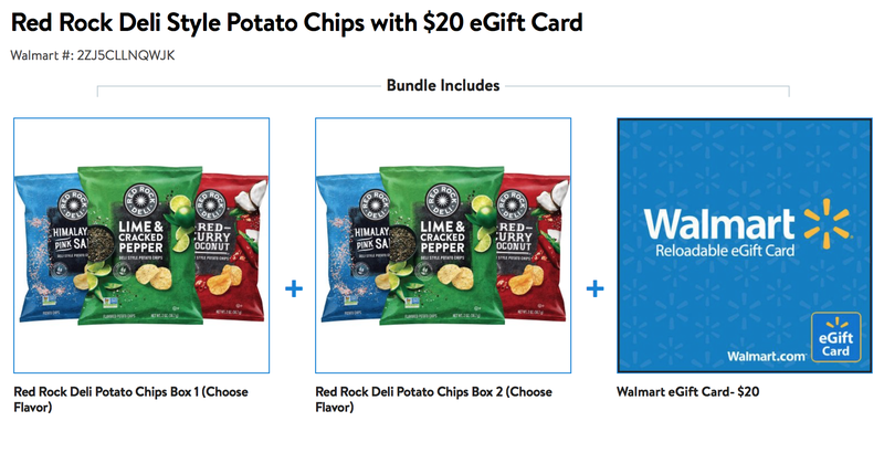 Two 12-Pack Boxes of Red Rock Deli Chips + $20 Walmart Gift Card | $36 | Walmart