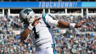 Cam Newton of the Carolina Panthers celebrates after a touchdown during the second quarter of the NFC Divisional Playoff Game against the Seattle Seahawks at Bank of America Stadium on Jan. 17, 2016, in Charlotte, N.C.Streeter Lecka/Getty Images