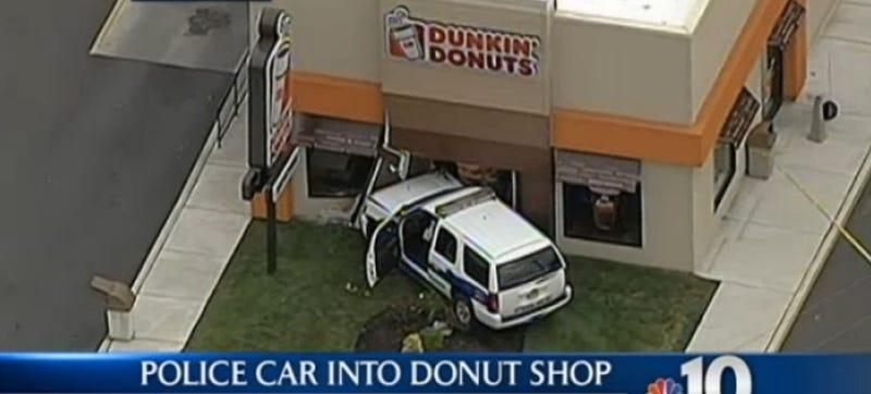 Illustration for article titled Cop Crashes Into Donut Shop