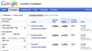 Illustration for article titled Compare Mortgages, Credit Cards, and Other Finance Options Through Google