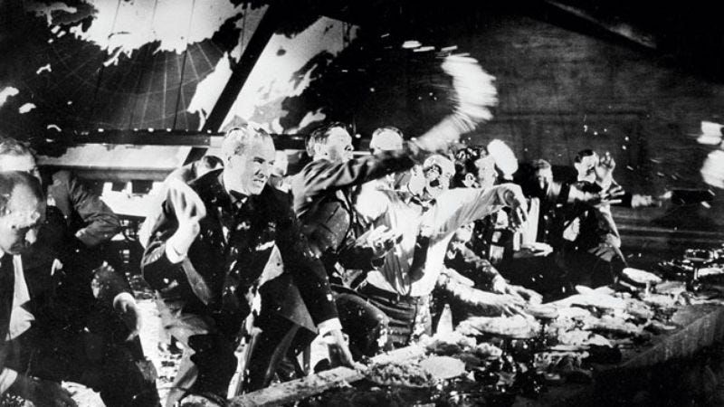 Alternate pie-throwing ending to Dr. Strangelove.