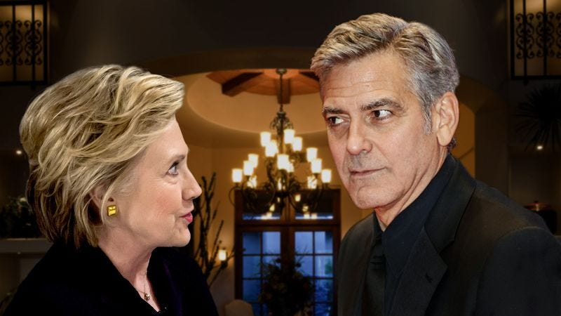 Clooney leans his right lapel closer to Clinton while telling her an anecdote about how he once emailed a screenplay to someone unauthorized to read it, before asking her if she's ever done anything similar.
