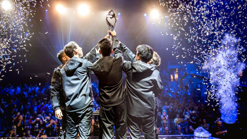 CLG hoist their trophy following their victory of TSM in Vegas, by Riot Games. Source