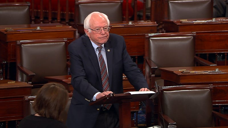 Sen. Bernie Sanders (I-Vt.) pauses as he speaks June 14, 2017, on the Senate floor at the Capitol in Washington, D.C., about the shooting at the Republican congressional baseball practice.  (Senate Television via AP)