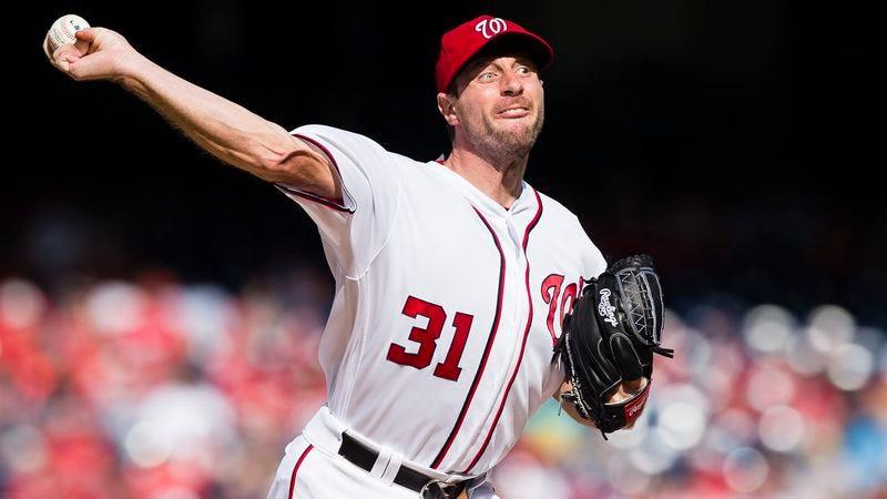 Washington Nationals pitcher Max Scherzer makes a big, fussy show of walking someone, probably. (Photo: Patrick McDermott / Getty)