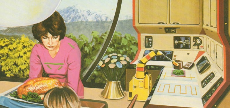 Illustration for article titled This Family Dinner of the Future From 1981 Looks Depressing as Hell