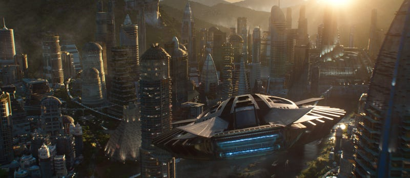Entering Birnin Zana, also known as the Golden City, in Wakanda (Marvel Studios/Disney)