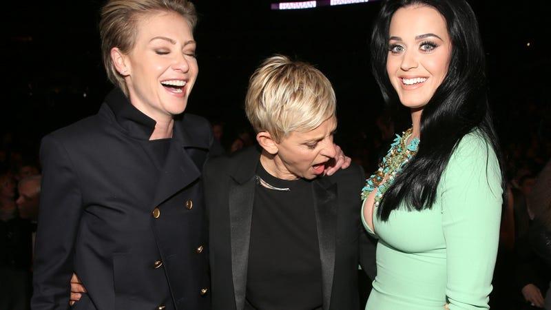 Illustration for article titled Ellen Degeneres LOLs at Katy Perry's Blatant Sideboob
