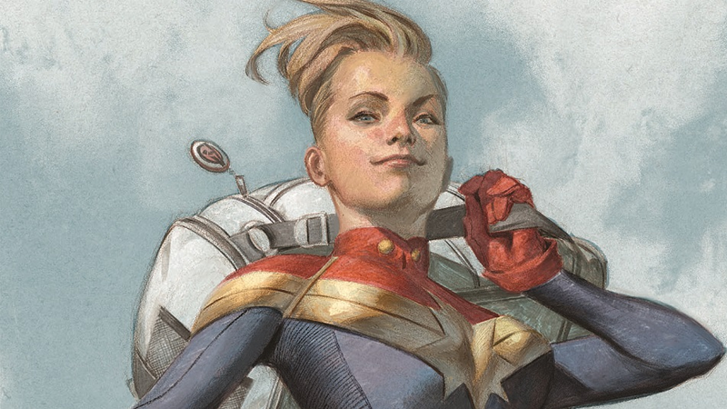 Carol Danvers as she appears on the cover of The Life of Captain Marvel #1.