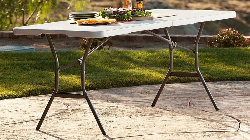 Lifetime 25011 Fold In Half Light Commercial Table, 6 Feet, White Granite | $45 | Amazon