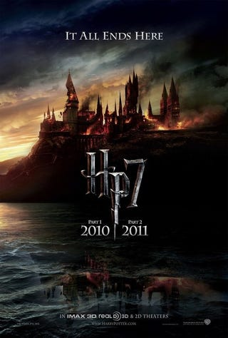 Illustration for article titled Hogwarts is burning: Harry Potter's first Deathly Hallows poster