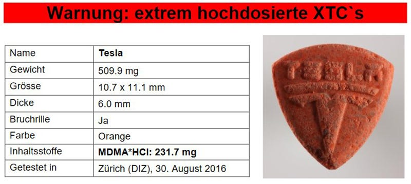 Twitter image from roionsteroids giving the breakdown of the dangerous pill spotted recently in Zurich.