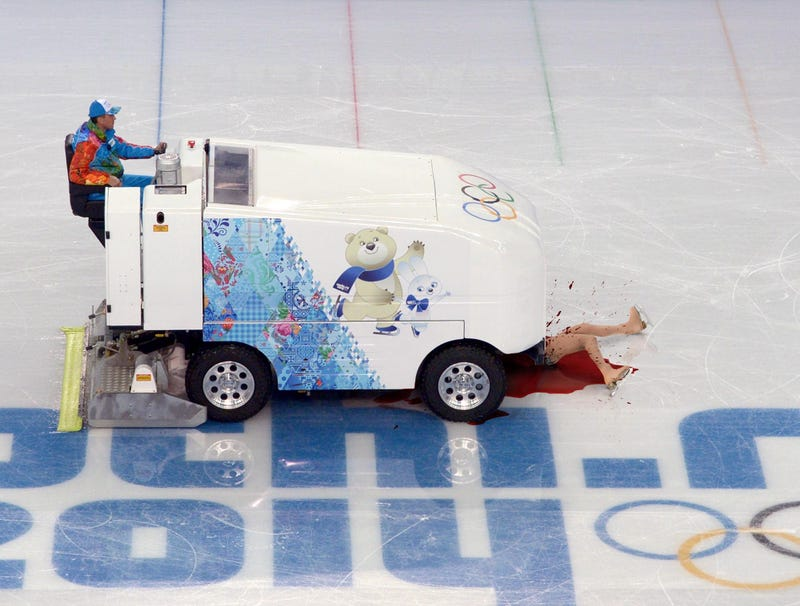 Illustration for article titled 15-Year-Old Figure Skating Sensation No Match For Zamboni