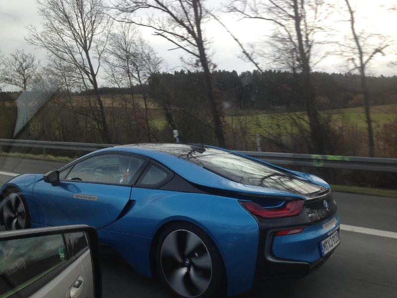 Illustration for article titled Bmw I8 Spotted Hauling Electric Ass Down The Autobahn