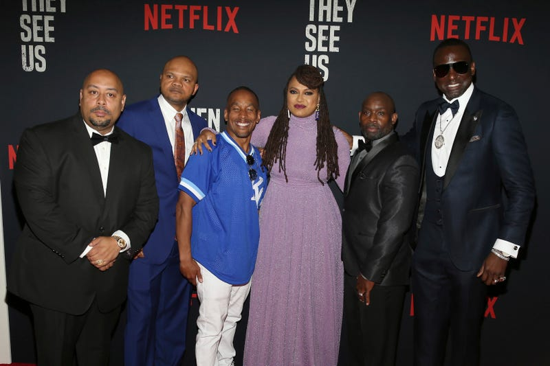 """Director Ava DuVernay center with the central park 5 Raymond Santana left, Kevin Richardson, Korey Wise, Anthony McCray and Yuesf Salaam attend the world premiere of """"When They See Us."""""""
