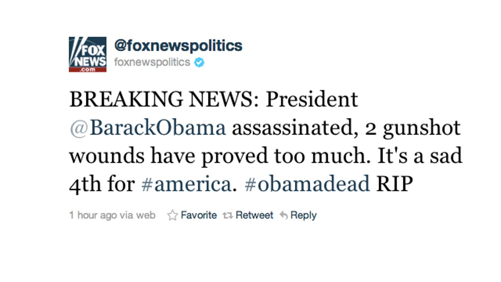 Fox News' Twitter Account Hacked, Claims Barack Obama Is Dead