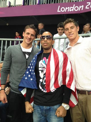 Illustration for article titled Ryan Lochte Update: Ryan Lochte Is Hanging Out With Ludacris At The USA-Argentina Game