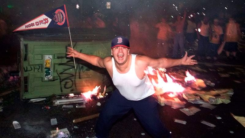 Illustration for article titled Red Sox Fan Dedicates Garbage Can He's Lighting On Fire To Marathon Victims