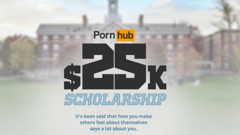 "Illustration for article titled Pornhub establishes scholarship fund, unleashing flood of ""study hard"" jokes"