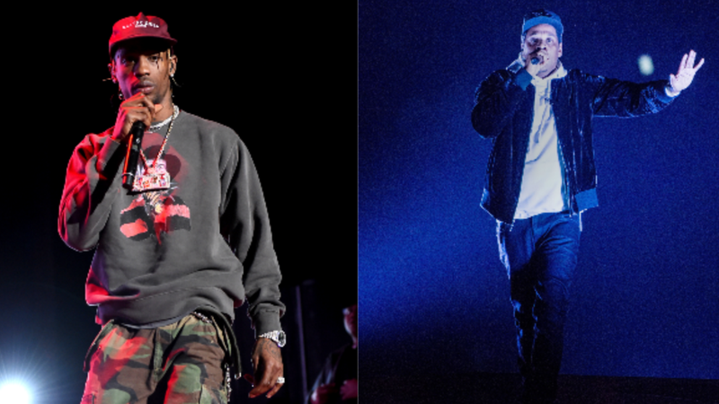 (L-R): Travis Scott performs onstage during 'Mac Miller: A Celebration Of Life' Concert Benefiting The Launch Of The Mac Miller Circles Fund on October 31, 2018 in Los Angeles, California.; JAY-Z performs at Honda Center on October 27, 2017 in Anaheim, California.
