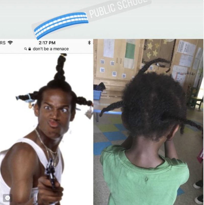 A screenshot of the Instagram post made by a Canadian substitute teacher mocking the hair of a young black student