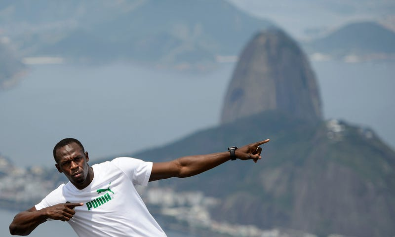 Jamaican Olympic gold medalist Usain Bolt during an Oct. 23, 2012, visit to the statue of Christ the Redeemer in Rio de Janeiro.Buda Mendes/Latin Content/Getty Images