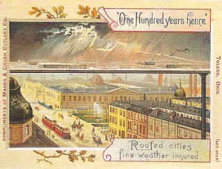 Illustration for article titled American Version of Postcards Showing the Year 2000 (circa 1900)