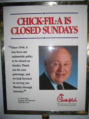 Illustration for article titled So why does Chick-Fil-A Advertise on Sundays?