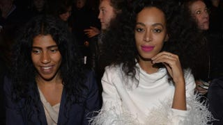 Solange Knowles (right) attends Olympia Le Tan 2015-2016 Fall/Winter ready-to-wear collection on March 7, 2015, in Paris. She is wearing her now-lost wedding ring in the shot.MIGUEL MEDINA/AFP/Getty Images