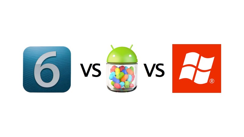 Illustration for article titled Android Jelly Bean vs. iOS 6 vs. Windows Phone 8: The Ultimate Mobile Comparison